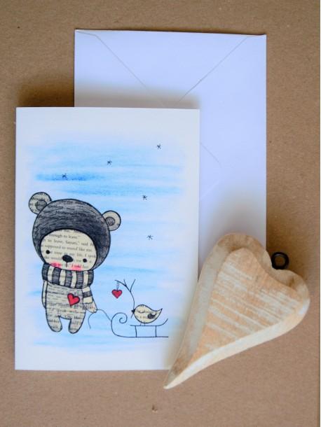 Pohľadnica Medvedík so sánkami