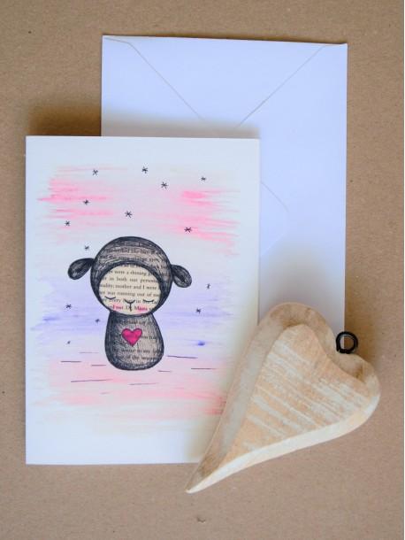 Pohľadnica Zasnená ovečka