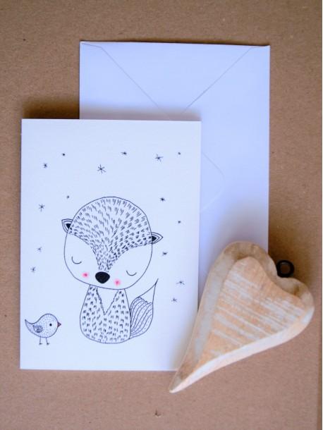 ČB pohľadnica Líška a vtáčik