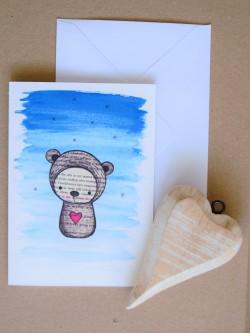 Pohľadnica Medvedík so srdiečkom