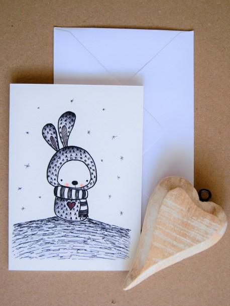 ČB pohľadnica Zajko na kopci