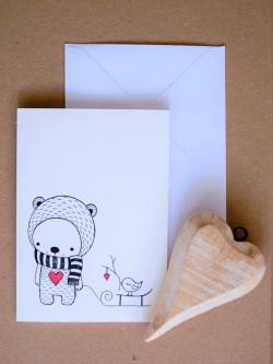 ČB pohľadnica Medvedík so sánkami