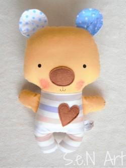 Látkový medvedík modré ušká